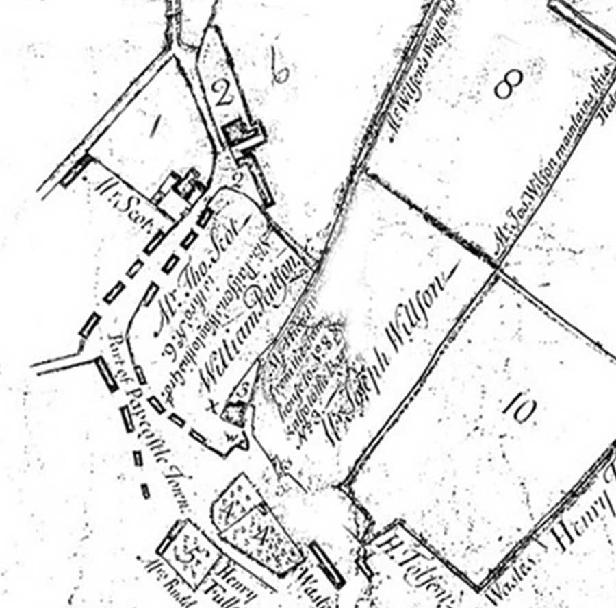 Hicks Estate Map (extract) 1763