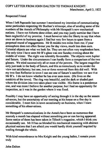 John Dalton Letter