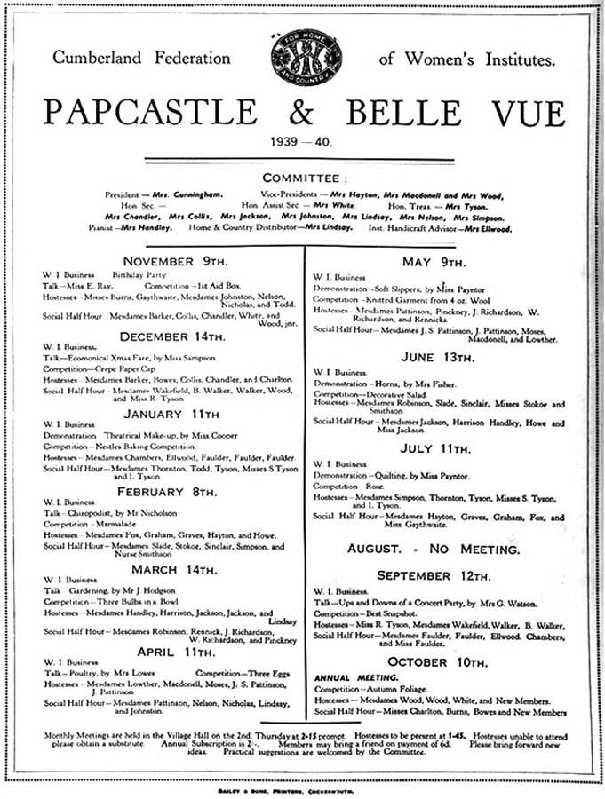WI Programme 1939